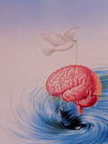 Abstract Artwork of Brain Lifted Out of Whirlpool Photographic Print by John Bavosi