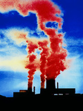 False-colour Photograph of Industrial Pollution Photographic Print by Dr. Jeremy Burgess