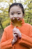 Girl Holding An Autumn Leaf Photographic Print by Ian Boddy