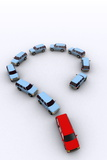 Model Cars As a Question Mark, Artwork Photographic Print by Christian Darkin