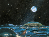 Earth Seen Above a City on the Moon Prints by Chris Butler