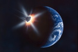 Asteroid Impacting the Earth, Artwork Poster by Richard Bizley