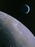 Illustration of Earthrise Seen From Lunar Orbit Premium Photographic Print by Chris Butler