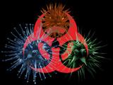 Biohazard Symbol And Viruses Fotografisk tryk af Laguna Design