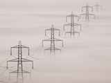 National Grid Pylons In the Mist Photographic Print by Adrian Bicker