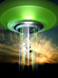 UFO Cattle Abduction, Conceptual Artwork Premium Photographic Print by Victor Habbick