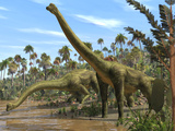 Brachiosaurus Dinosaurs Fotografisk tryk af Roger Harris