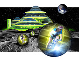 Computer Artwork of Men Cycling From a Moon Base Posters van Victor Habbick