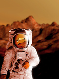 Computer Artwork of An Astronaut on Mars' Surface Photographic Print by Victor Habbick