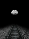 Travel To the Moon, Conceptual Artwork Photographic Print by Victor Habbick