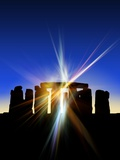 Light Flares At Stonehenge, Artwork Premium Photographic Print by Victor Habbick