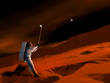 Astronaut Playing Golf on Mars Posters by Victor Habbick