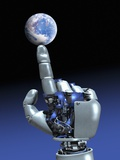 Earth Spinning on Robotic Finger, Artwork Premium Photographic Print by Victor Habbick