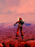 Astronaut on Mars Photographic Print by Victor Habbick