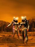 Astronauts on Mars Photographic Print by Victor Habbick