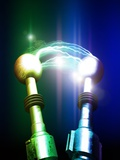 Tesla Coils Firing, Artwork Premium Photographic Print by Victor Habbick
