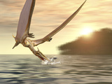 Pterosaur Fishing, Computer Artwork Photographic Print by Roger Harris
