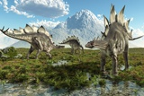Stegosaurus Dinosaurs, Artwork Photographic Print by Roger Harris
