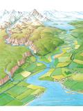 Drainage Basin, Artwork Premium Photographic Print by Gary Hincks