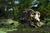 Triceratops Drinking At a Pond, Artwork Print by Roger Harris