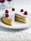 Raspberry Sponge Cake Photographic Print by Veronique Leplat