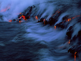 Molten Lava Flowing Into the Ocean Photographic Print by Brad Lewis