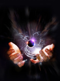 Hands Holding Black Hole And Stars Photographic Print by Coneyl Jay