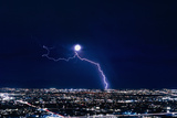Lightning Strike At Night In Tucson, Arizona, USA Prints by Keith Kent
