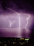 Thunderstorm At Night Over Lake Posters by Keith Kent