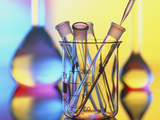 Test Tubes In Beaker with Pipette And Flasks Photographic Print by Tek Image