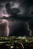 Lightning Strikes At Night In Tucson, Arizona, USA Photographic Print by Keith Kent