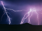 Lightning Strikes At Night, New Mexico, USA Photographic Print by Keith Kent