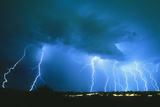 Lightning Strikes At Night In Bisbee, Arizona, USA Posters by Keith Kent