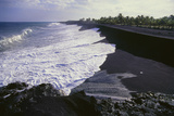 Black Sand Beach From Lava Fragments Photographic Print by Brad Lewis