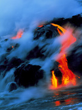 Molten Pahoehoe Lava Flowing Into the Ocean Photographic Print by Brad Lewis