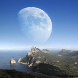 Moonrise Over Mallorca Photographic Print by Detlev Van Ravenswaay