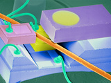 Coloured SEM of a Laser Unit for Fibre Optics Photographic Print by Volker Steger