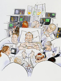 Caricature of An Intensive Care Ward Photographic Print by David Gifford