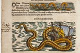 1558 Gessner Sea Serpent Devouring a Ship Posters by Paul Stewart