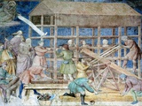Building Noah's Ark, 14th Century Fresco Prints by Sheila Terry