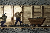 Miners In a Timbered Tunnel Posters by Sheila Terry