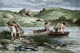 Early Humans Fishing Posters by Sheila Terry