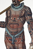 1827 Nukahiva Marquesas Tattooed Warrior Photographic Print by Paul Stewart