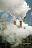 Smoking Chimneys of a Paper Mill Polluting the Air Photographic Print by Kaj Svensson