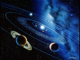 Artwork of the Solar System with Planetary Orbits Premium Photographic Print by Detlev Van Ravenswaay