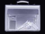 Handgun In Briefcase, Simulated X-ray Premium Photographic Print by Mark Sykes