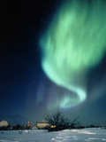 Aurora Borealis And Satellite Station In Photographic Print by Chris Madeley