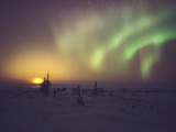 Aurora Borealis Display with Setting Moon Photographic Print by Chris Madeley