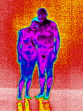 Couple Cuddling, Thermogram Photographic Print by Tony McConnell