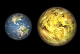 Gliese 581 C And Earth Compared, Artwork Posters by Walter Myers